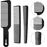 3 Pieces Barberology Comb Set Clipper Flattop Barber Comb Taper Combs and Heat-Resistant Fiber Cutting Comb for Men Women