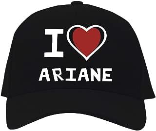 I Love Ariane Bicolor Heart Baseball Cap Black