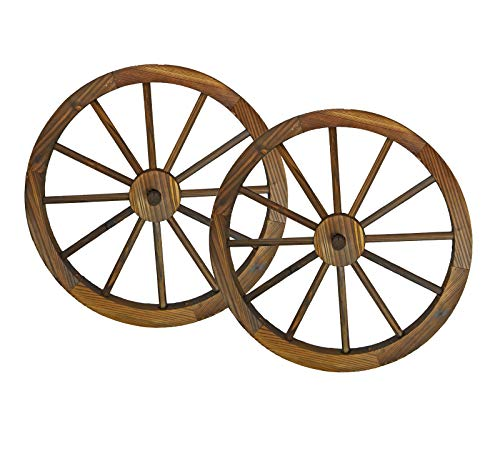 "24"" Wooden Wagon Wheels - Steel-rimmed Wooden Wagon Wheels, Set of Two Product SKU: PL50019"
