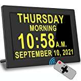 Digital Alarm Clock with 16 Alarms, Remote Control, 4 Text Colors, Day Date Calendar Clock, Memory Loss,Dementia,Alzheimer's Vision Impaired Clock