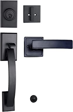TOGU HS27D Heavy Duty Single Cylinder Handleset with Wave Style Lever Door Handle,Solid Entry Door Lockset with deadbolt for