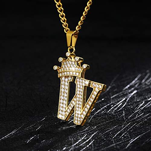 HALLTYG collarGargantilla de Letras con Corona de Cristal, Collares con Colgante de Alfabeto para Mujer, Cuello de Cadena, Collar de Rap para Hombre, Regalo de Hip Hop para Mujer