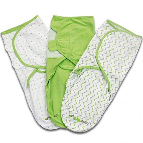 Baby Swaddle Blanket Wrap Set 3 Pack Green Grey Chevron Dot Solid