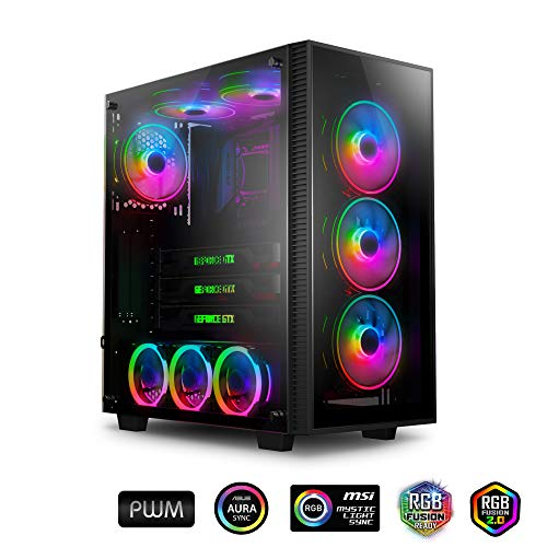 anidees AI Crystal M, Mid Tower, Tempered Glass, CEB ATX / ATX PC gaming case, incl. 4 x 120 PWM RGB fan - Black AI-CL-M (PC Case only)