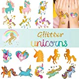 Ooopsi Unicorn Tattoos for Kids - 6 Sheets Gold Glitter Tattoos Unicorn Party Favors and Birthday Decorations for Girls Boys