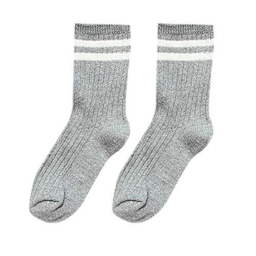 ZZBO Damen Doppelte Streifen Rohr Socken Winter Verdickenden Terry Socks Warme Stricksocken Thermo Socken Flexibel und Bequem Mid-Calf Crew Socks Dicke Quarter Socke