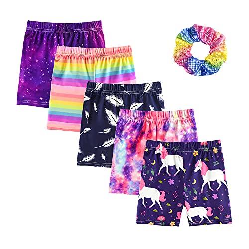 KeeFsion 5 Packs Girls Shorts Color Dance Shorts Girls Safety Short Atmungsaktive Bike Short für Mädchen Bedruckte Dance Shorts Colourful Yoga Short Pant 3-10 Jahre -BB-140