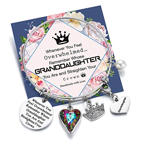 Whenever You Feel Overwhelmed Remember Whose Granddaughter Bracelet Straighten Your Crown Bracelet, Engraved Quote Expandable Charm Bangle Bracelet for Granddaughter (Granddaughter Crown Bracelet)
