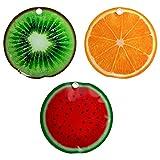 Juego de 3 acumuladores de frío de aprox. 16 cm, con diseño de frutas, melón, kiwi, naranja, elementos de refrigeración para bolsa o nevera