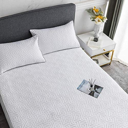 XYSQWZ Bed Cover Fitted Sheets Padded Quilted Mattress Sanding For Single Double King Size Bed@white Grid_120*200 * 35cm