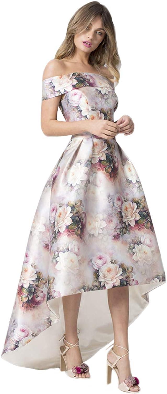 SilkRoadOriginal Women Satin Floral Off Shoulder Prom Dress