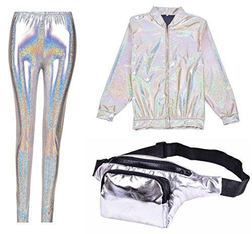 BFD One Metallic Shiny Bomber Jacket met gratis bijpassende legging en Bumbag. Ideaal voor vrouwen en mannen maat medium en groot in zilver goud turquoise paars of groen. Koud wassen (zilverfolie, 8-10)