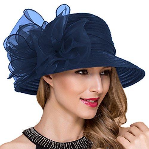 Ruphedy Damen Ascot Derby Kirche Sonnenhut Britische Hochzeit Tee Party Hüte S051 (Marine)