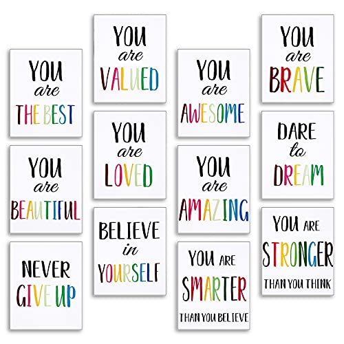 12 Pieces Inspirational Print Wall Poster Motivational Quote Watercolor Words Posters Aesthetic Poster 8 x 10 Inch Unframed Canvas Saying Painting Posters for Kids Room Modern Decoration