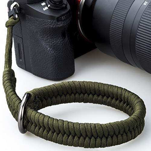 Camera Wrist Strap with Safer Connector for Nikon Canon Sony Panasonic Fujifilm Olympus DSLR Mirrorless, Adjustable Paracord Camera Wrist Lanyard, Quick Release Camera Hand Strap (Green)