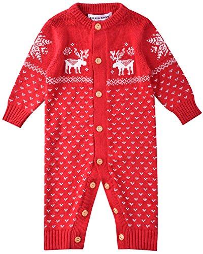 Zoerea Unisex Neugeborenes Baby Strampler Lange Ärmel Weihnachten warme Pullover mit Elch Hirsche Schneeflocke Muster Mantel für die Saison Frühling (Rot, Etikett 70 (ca. 4-8 Monate))