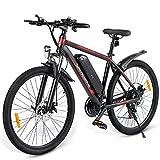 SAMEBIKE Ebike Bicicleta de Montaña de 26 Pulgadas, Bicicleta de Montaña Eléctrica para Adultos 350W 36V 10AH, Bicicletas Eléctricas Hombres Mujeres I Shimano 7 Marchas I con Instrumento LCD (Negro)