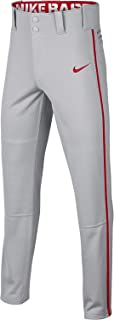 Nike Boys' Swoosh Piped Dri-FIT Baseball Pants (Grey/Red,  L)