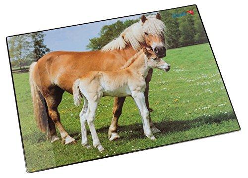 Läufer 46587 Schreibtischunterlage Pferd und Fohlen, 53x40 cm, rutschfeste Schreibunterlage für Kinder, verschiedene Motive, mit transparenter Seitentasche