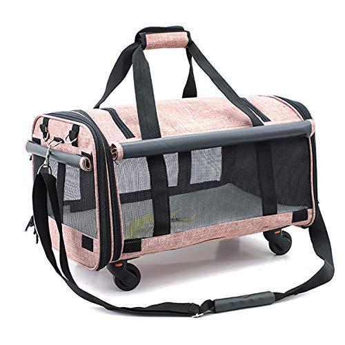 Thundeal Transportín de mascotas para gatos y perros, asiento de coche, multifuncional, fácil de limpiar, mochila portátil para mascotas para gatos y perros pequeños (rosa claro)