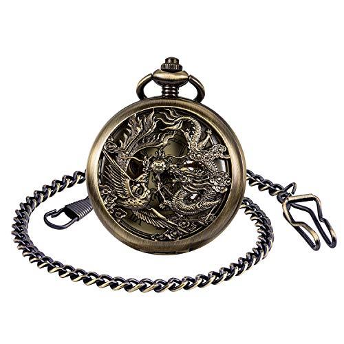 Unendlich U Herren Antik Taschenuhr mit Kette Analog Handaufzug Drache Phönix Skelett Doppeljäger Römische Ziffern Skala Mechanische Kettenuhr