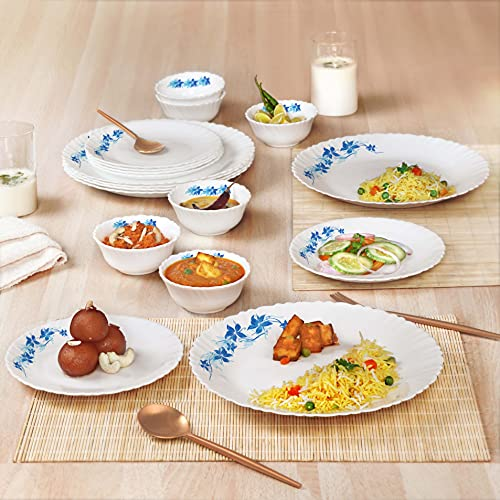 Cello Opalware Dazzle Blue Swirl Dinner Set, 18Pcs, White