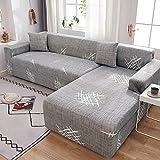 WXQY Fundas de impresión 3D Fundas de sofá elásticas elásticas Protección para Mascotas Funda de sofá Esquina en Forma de L Funda de sofá con Todo Incluido A23 3 plazas