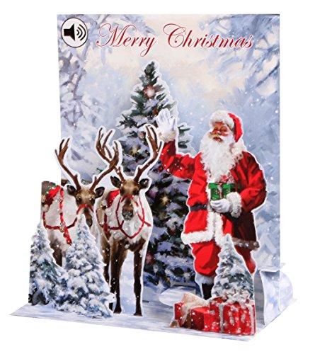 3D Jolly Santa Musical Sight 'N' Sound Christmas Card