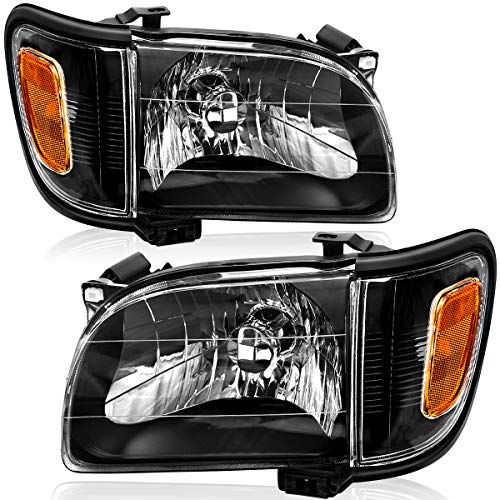 OEDRO Headlight Assembly Compatible with 2001-2004 Toyota Tacoma Headlights with Bumper Lights Amber Reflectors Clear Lens Black Housing Headlamps - Driver & Passenger Side