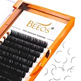 BEEOS Eyelash Extension Classic .10 .15 .20 Thickness C D DD Curl 8-16 Mixed Matte Black Mink Individual Lashes For Salon Use (D 0.15-8-16mm Mixed)