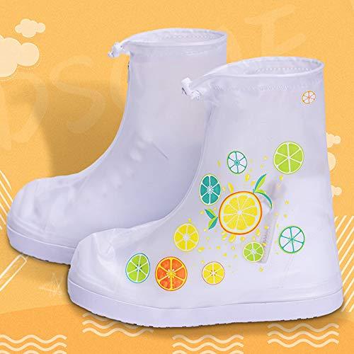 MikeyBee Nuovi Copriscarpe per Stivali da Pioggia Impermeabili, Antipioggia, Antiscivolo, Resistenti alla Sabbia e all'Usura per Bambini(Taglia Frutta-L)