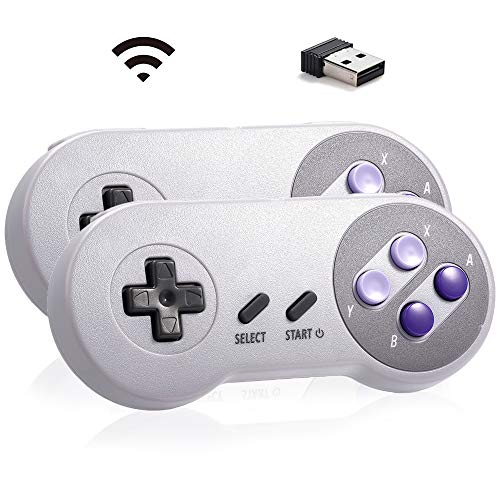 MODESLAB 2 Pack 2.4 GHz Wireless USB Controller Compatible with Super Classic SNES Games Retro USB PC Controller for Windows PC MAC Linux Genesis Raspberry Pi Retropie Emulator(Multicolored(178#))