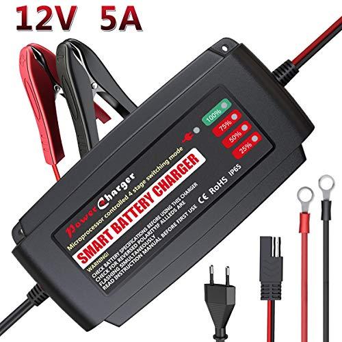 LEICESTERCN Autobatterie Ladegerät Erhaltungsladegerät 12V, Universell Vollautomatisches Kraftpaket Batterie Ladegerät Motorrad für KFZ PKW Auto-EU Plug (12V 5Amp)