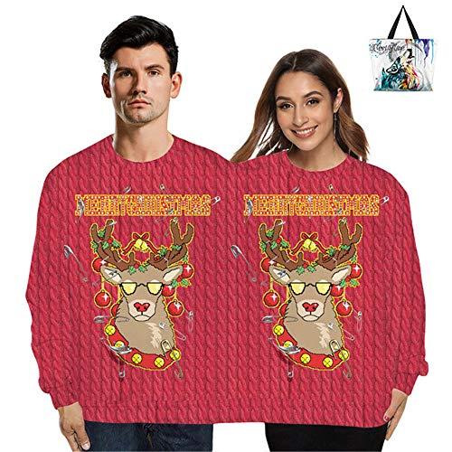 ZEIYUQI Kerstpullover Winter Pullover dubbele gebreide jas Lose 3D eendelig gebreid vest Unisex, met boodschappentas om mee te nemen