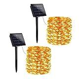 Toodour - Luces solares de alambre de cobre (200 LED)