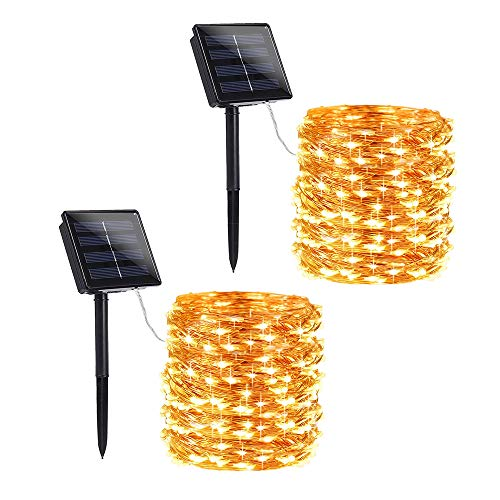 Toodour Solar String Lights, 2 Packs 72ft 200 LED 8 Modes Solar Fairy Lights, Waterproof Outdoor String Lights, Copper Wire Fairy Lights for Garden, Party, Wedding, Holiday Decorations (Warm White)