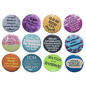 Button Set groß 50mm Auswahl ab 5 Stück aus 72 Motiven wählbar Ansteckbutton Motiv: Sprüche Lustig und witzig Part I