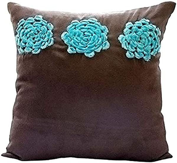 Brown Throw Pillows Cover For Couch Turquoise Origami Flower Floral Theme Pillows Cover 18 X18 Throw Pillow Cover Square Faux Suede Throw Pillows Cover Floral Modern Pillow Cases Turq Blooms