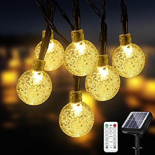 DHWELEC Solar Lichterkette Aussen (Upgrade), 11 Meter 60 LEDs für Innen & Außen mit Fernbedienung, wasserdichte für Partykorationen, Halloween, Weihnachten, Garten, Zaun usw.