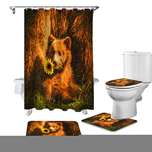 Meet 1998 4 Pcs Shower Cuatain Sets Non-Slip Bath Rugs Beer Oil Painting Toilet Cover Bathroom Decor for Kids Adults Retro Sunflower,36x72 inch Waterproof Shower Curtainch with Hooks,Small