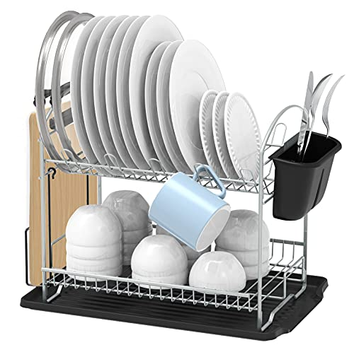 SimpleHouseware 2-Tier Dish Rack with Drainboard, Silver is $24.87 (38% off)