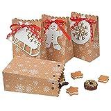 Bolsa De Regalo Con Etiqueta Árbol Muñeco Nieve Caja De Embalaje De Fiesta De Año Nuevo Bolsa De Dulces Vintage De Papel Bolsa De Papel De Copo De Nieve Para Decoraciones De Fiesta De Navidad(12pcs)