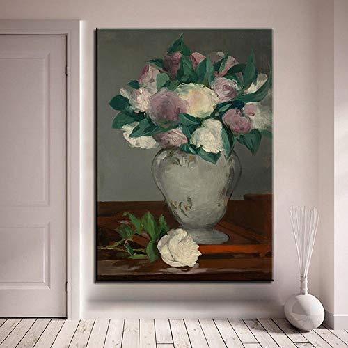 wZUN Lienzo HD Impresiones Pintura peonía florero Cartel Pared Arte Imagen Sala de Estar decoración del hogar 50x70cm Sin Marco