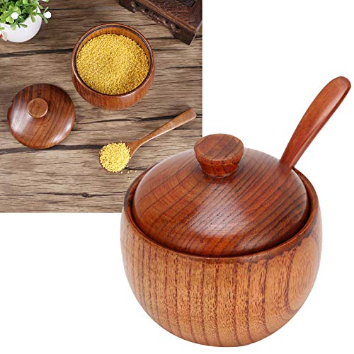 Vasetto per spezie in legno massello Zuccheriera Sale Pepe Scatola per condimenti con cucchiaio e coperchio Attrezzo da cucina per ristoranti, mense, viaggi all'aperto, picnic