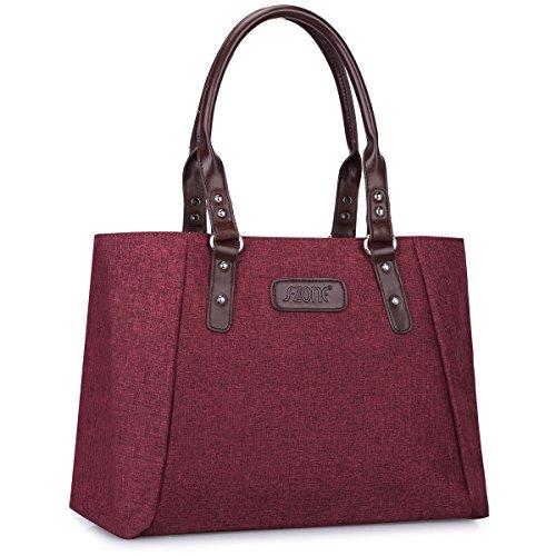 S-ZONE Damen Handtaschen Leichte Große Shopper Casual 15,6 Inch Laptop Schultertasche Arbeitstasche Henkeltasche Tote Bag Top-Griff Tasche