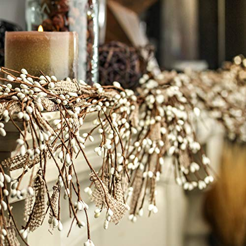 Factory Direct Craft Rustic Burlap and White Pip Berry Garland for Autumn and Fall Home Décor