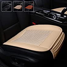 Suninbox Car Seat Covers,Ice Silk Car Seat Cushion Pad Mat[carbonized Leather] Ventilated Breathable Comfortable Interior Seat Covers,Cooling Bottom Seat Cover for Car [Beige Front Seat]