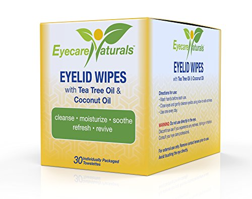 Eyecare Naturals Tea Tree Oil Eyelid Wipes with Coconut Oil - Dry Eye Wipes No Rinse, Natural Essential Oil Cleansing Eye Wipes - Daily Eyelid Makeup Remover - Box of 30 Individually Wrapped Wipes