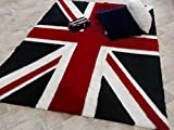 SKIPTON MILL SHOP RED UNION JACK FLAG RUG SOFT FAUX BRUSHED FUR WASHABLE NON SLIP (140 X 200)
