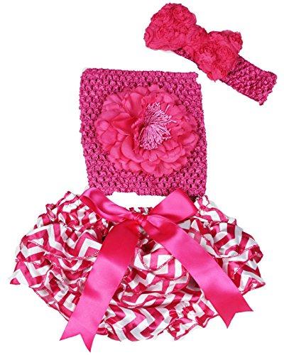 Rose vif Fleur Tube Top Chevron satiné bloomer en dentelle bébé Tenue Lot de 3–12 m - Rose - taille unique